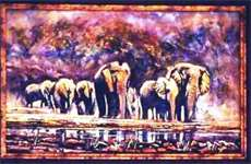 Kruger Park Elephants'  oil  2003